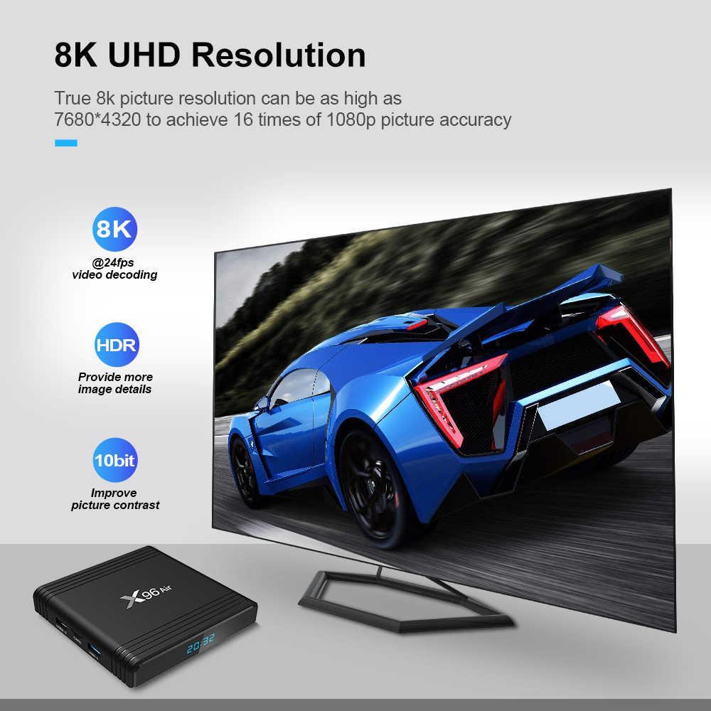 Docooler X96 الهواء مربع التلفزيون الذكية أندرويد 9.0 Amlogic S905X3 8K فك الفيديو 4GB 64GB UHD 4K مشغل الوسائط 2.4G/5G واي فاي مجموعة صندوق علوي