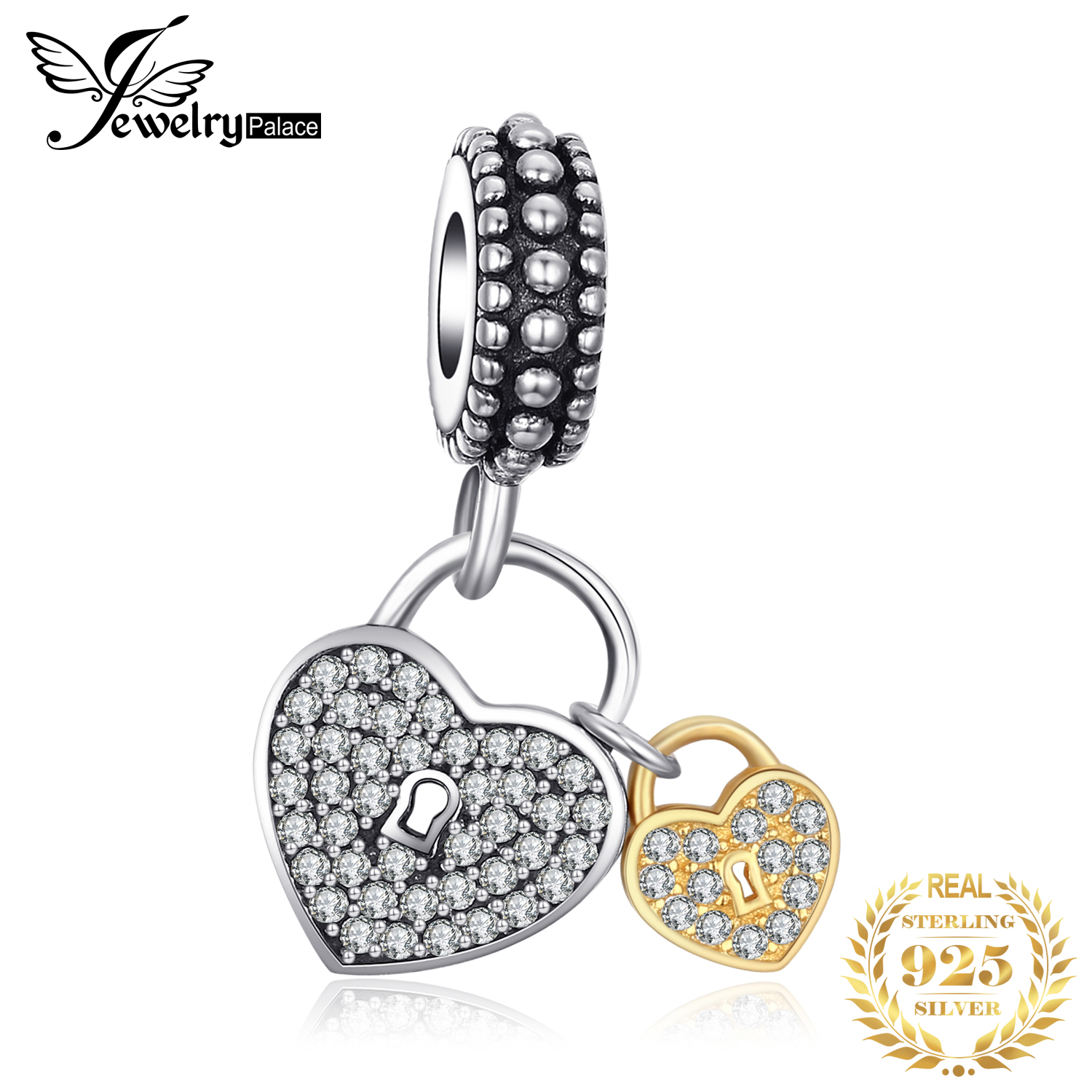 Jewelrypalace 925 Sterling Silver Parents Love Pave Cubic Zirconia Gold Murano Glass Charm Bracelets Gifts For Her Fine Jewelry