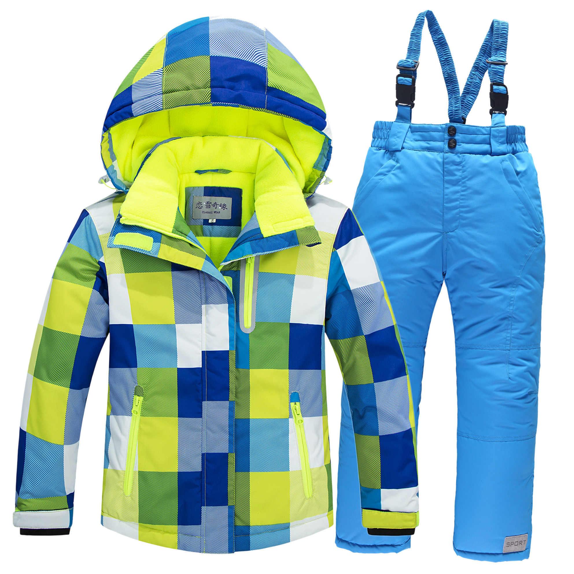 スキースーツの女の子屋外スポーツスノーボードセット少年防水子供服暖かい防風コート大人のスキースーツのジャケット