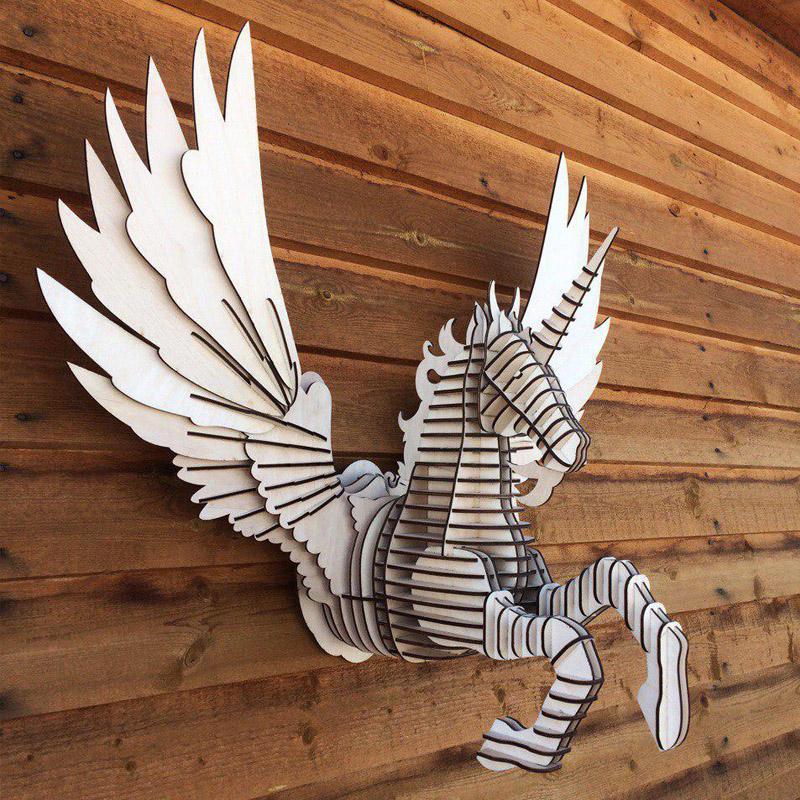 Pegasus Fly Horse 3D Model CNC Laser Cutting File CDR Format File Vector Design Drawing