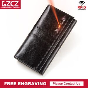 Image 1 - Free Engraving Name Female Wallet Zipper Purses Long vallet Clutch Coin Purses Leather walet for Women Phone Bag Card Holder