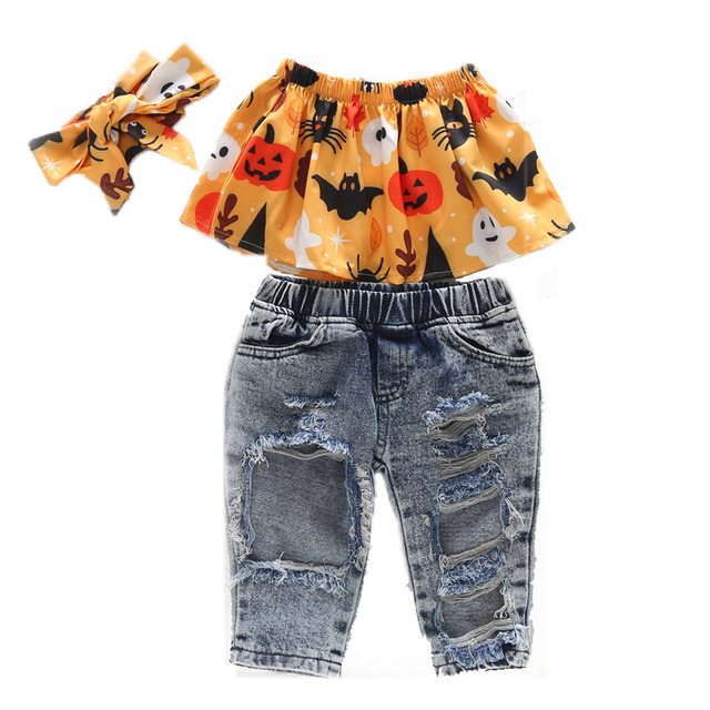 2020 Baby Girl Clothes Summer Tracksuit For Children Clothing Girls Sets T-shirt+Broken Hole Jeans Kids Clothes 1 2 3 4 5 6 Year 5