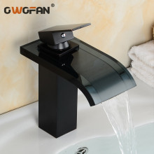 Retro Bathroom Basin Waterfall Faucet Oil Rubbed Bronze Black Faucet Hot and Cold Water Mixer Single Handle Sink Taps LH-16821 oil rubbed bronze waterfall spout deck mount basin sink faucet dual handles bathroom hot cold mixer taps