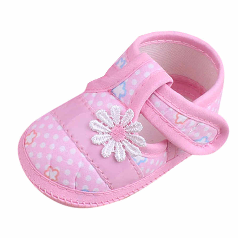 2019 New Baby Shoes Cute Floral Pink Korean Style Newborn First Walker Children Shoes Casual Soft Sole Non-slip Baby Girls Shoes