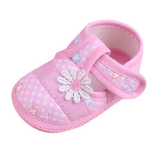 2019 New Baby Shoes Cute Floral Pink Korean Style Newborn First Walker Children Shoes Casual Soft Sole Non-slip Baby Girls Shoes(China)