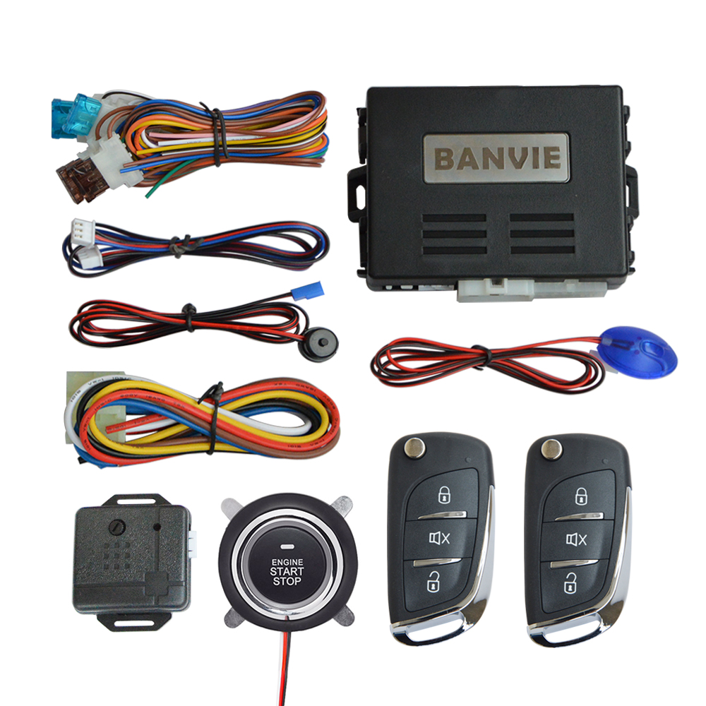 BANVIE Car Keyless Entry Security Alarm System with Remote Starter and Push to Start Stop ignition Button Kit
