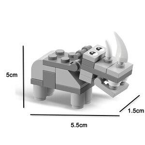 Image 5 - 동물의 세계 12 in 1 빌딩 블록 벽돌 세트 코끼리 사자 호환 Lepining 생성자 어린이를위한 교육 장난감