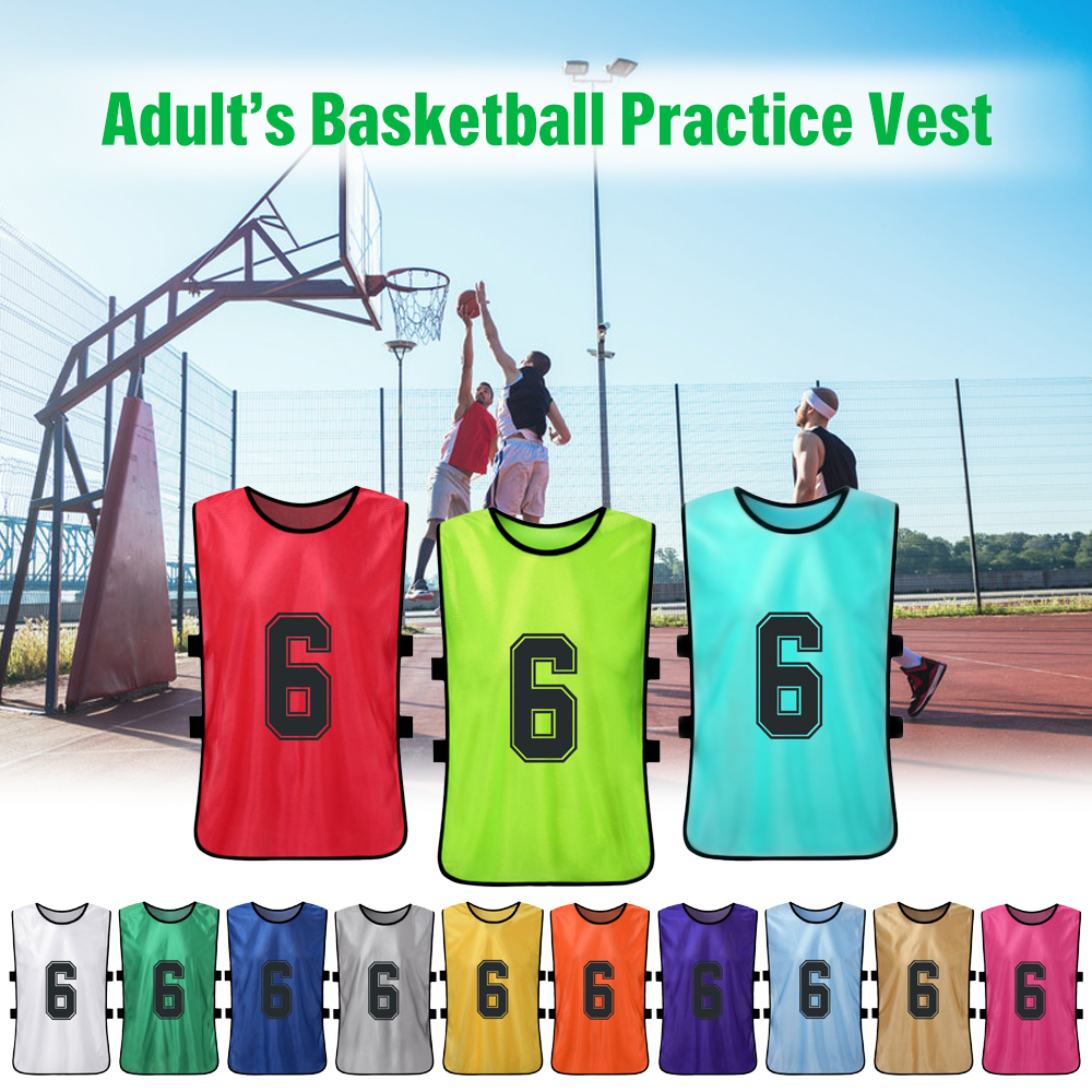 12PCS Adult Pinnies Quick Drying Football Team Jersey Youth Sports Scrimmage Soccer Team Training Numbered Bib Practice Vest