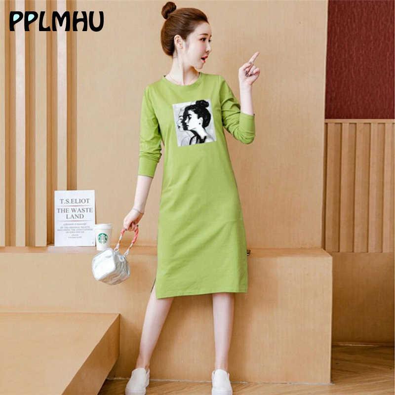 Fashion Graphic T Shirt Dress Women Basic Wild Long Sleeve Midi Dresses 2020 Spring New Casual Solid Color Tshirt Dress Black