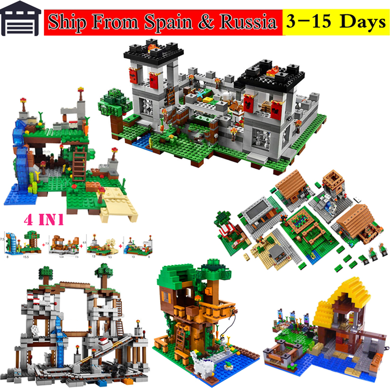 For Legoing Minecrafted Village Tree House The Mine Mountain 4-IN-1 Model Fit Legoings My World Figures Building Blocks Kid Toys