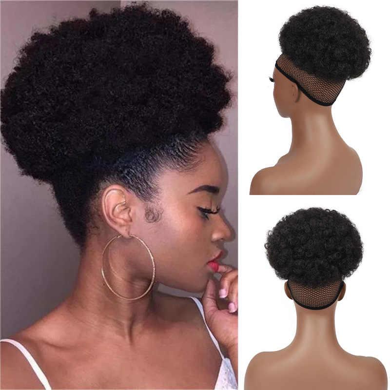 Hojaldre corto Afro de 6 pulgadas para mujer, moño de pelo sintético rizado, postizo para mujer, coleta con cordón, extensiones de cabello Updo, 1 ud.