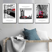 Modern London car street landscape Painting Canvas Print Art Home Decoration Wall Pictures for Bedroom Living Room Artwork(China)