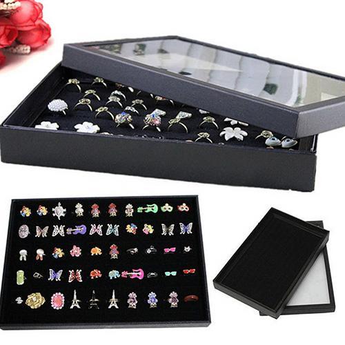 Organizer Jewellery Display Storage Box Square Tray Show Case Organiser Earring Holder Jewelry Ring Display Storage Box Earring