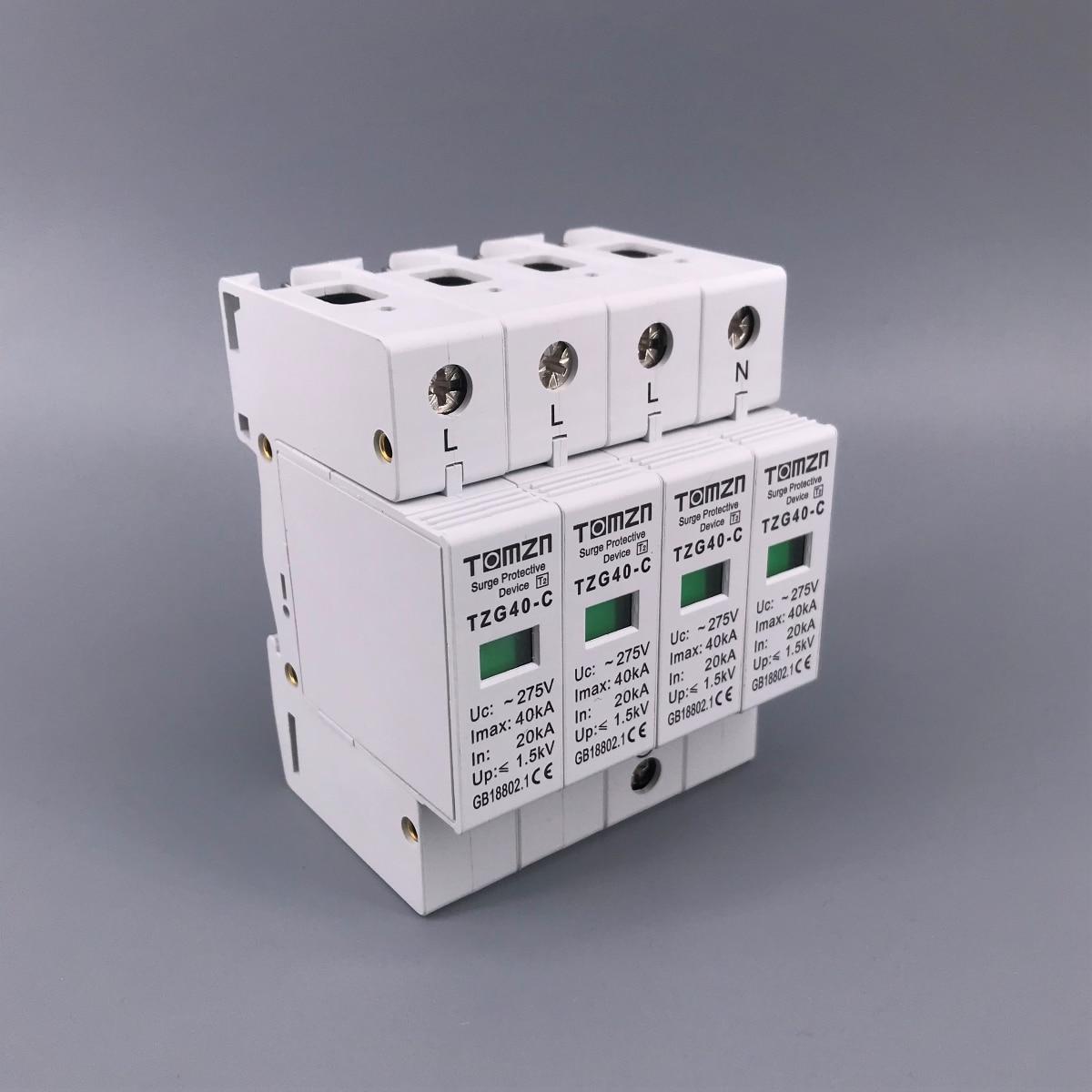AC SPD 4P 20KA ~ 40KA 275V, устройство защиты от перенапряжения для дома, защита от перенапряжения