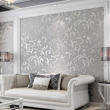 Silver/Gold Victorian Damask Embossed Wallpaper Roll Wall Coverings Silver Floral Luxury Loquat leaf Wall Paper home Decor