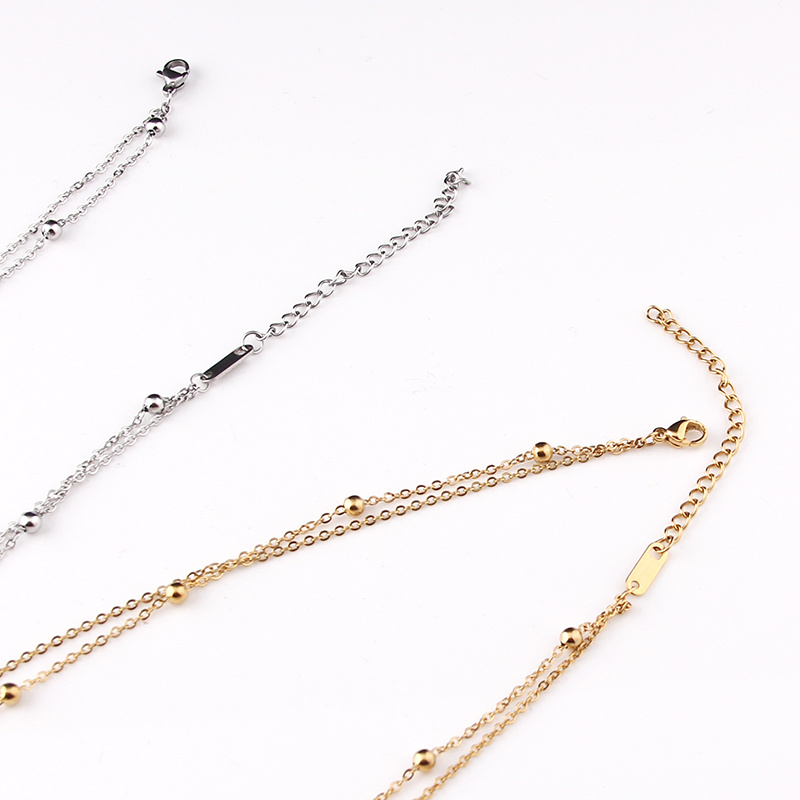 fashion Multilayer stainless steel Pendant Necklace Women Gold Color Beads Moon Star Horn Crescent double chain Choker Necklaces