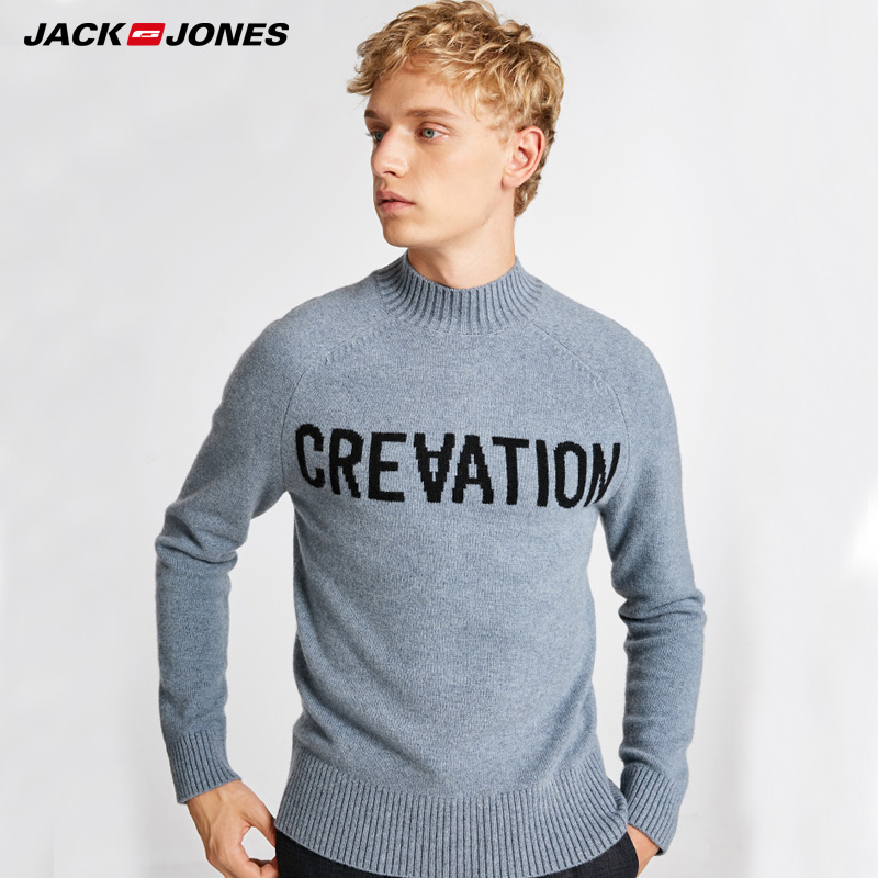 JackJones Mens Weaving Casual Letter Printed Knitting Sweater |  218324558