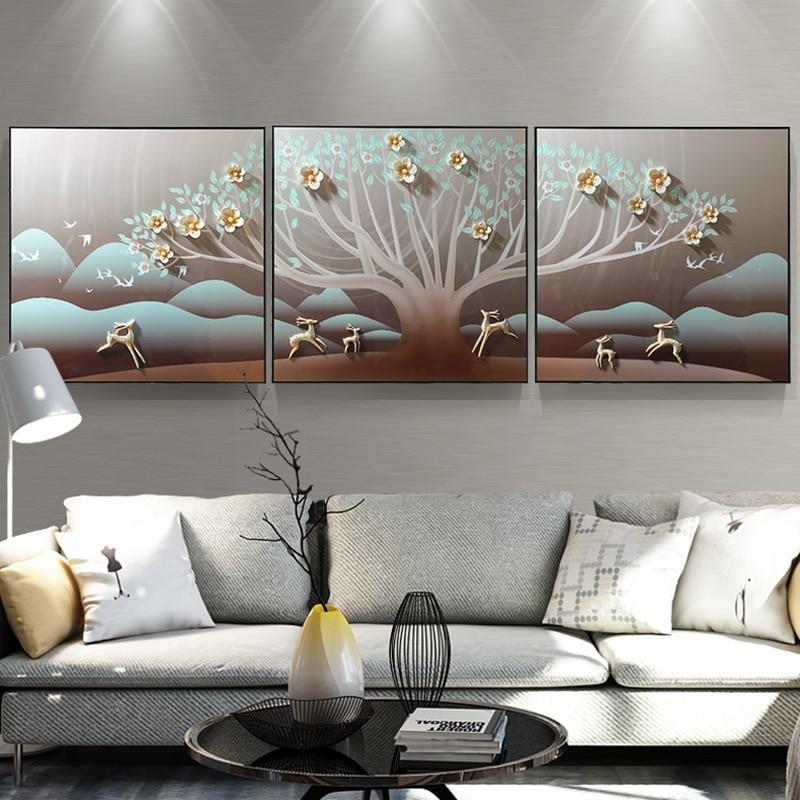 Sala de estar decoração pintura sanlian pote quente restaurante pintura a óleo novo restaurante chinês mural pintura alívio 3d - 3