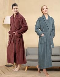 Mannen Verlengen Gewaad Koppels Winter Badstof Badstof Katoen Badjas Zachte Ventilatie Sleeprobe Casual Keep Warm Homewear Халат