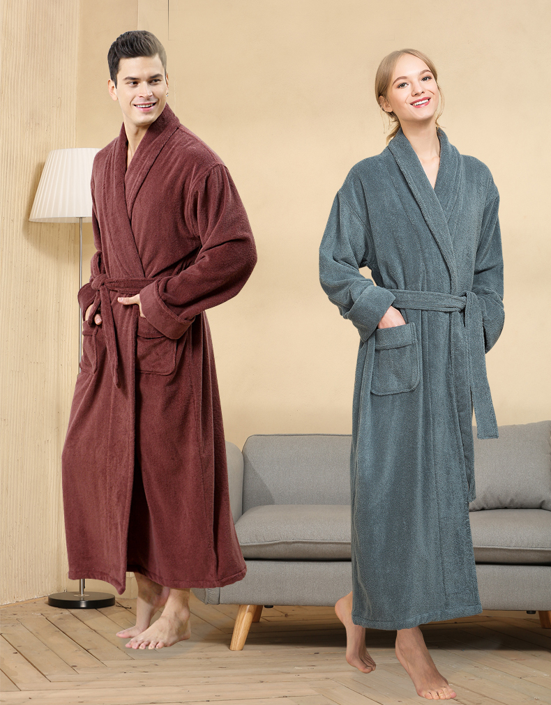 Men Lengthen Robe Couples Winter Toweling Terry Cotton Bathrobe Soft Ventilation Sleeprobe Casual Keep Warm Homewear халат