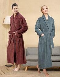 men Lengthen Robe Couples Winter Toweling Terry Cotton Bathrobe Soft Ventilation Sleeprobe Casual Keep Warm Homewear халат