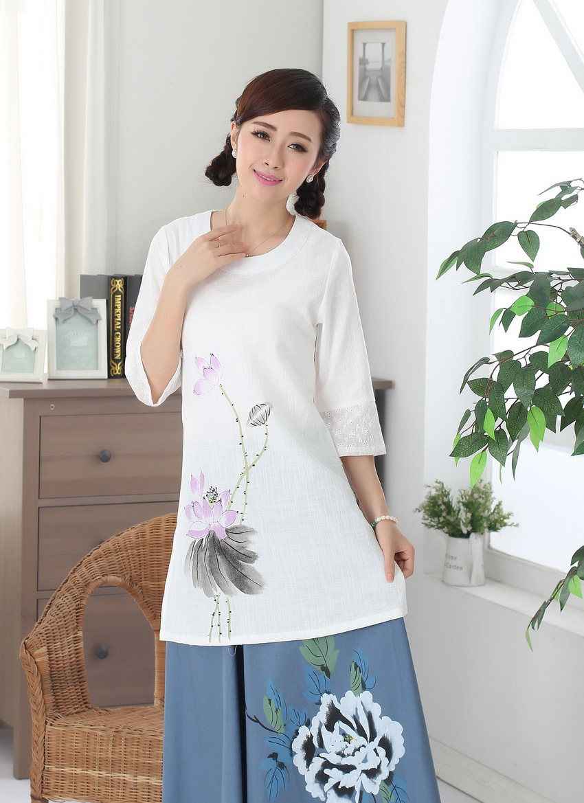 New Style Hand-Painted Cheongsam Tops Cotton Linen Flax Chinese Style Ethnic-Style WOMEN'S Top Chinese Costume Improved A0091