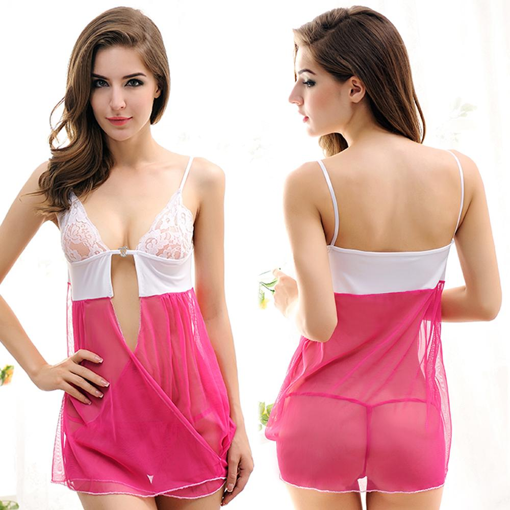 Sexy Lace Sheer Babydoll Dress Pink Sweet Sleepwear Nightwear Set Perfect Gift For Yourself Or Your Lover Sex Toys For Women