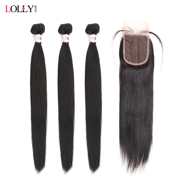 Lolly Peruvian Straight Hair 3 Bundles With Closure Double Weft Non Remy Human Hair Bundles With Lace Closure Free Shipping