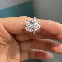 18K White Gold Pear Cut 10x12mm 10 Carat Syntetic Moissanite Diamond Gemstone Engagement Ring For Fiancee 2