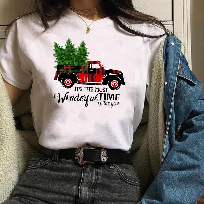 Womens Plaid Truck Tree Print Christmas Tree New Year T-shirt Female Graphic T Tee Shirt Camisas Mujer Tshirt Women Tops