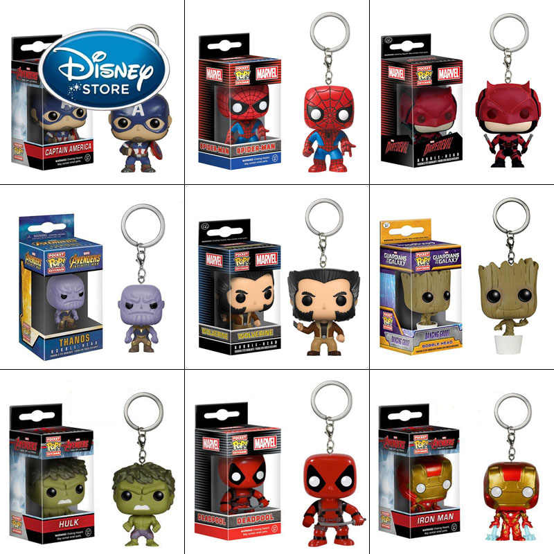 Disney FUNKO POP Marvel figurki superbohater Iron Man Spiderman Thanos brelok zabawka Model kolekcjonerski wisiorek z pudełkiem