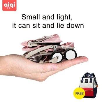 цена BABYYOYA AIQI  lightweight stroller portable folding mini baby stroller can sit can lie baby trolley with Free mummy bag онлайн в 2017 году