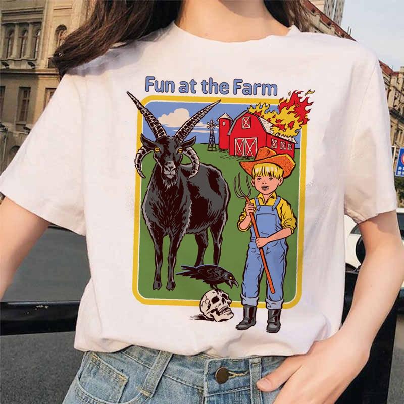 Женская футболка с коротким рукавом Let's Summon Demons, Повседневная летняя футболка в стиле Харадзюку, с мультяшным принтом Сатаны