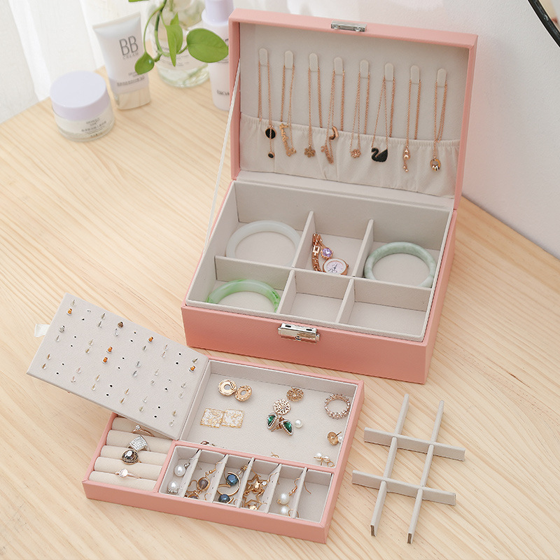 New Double-Layer Leather Jewelry Box Ear Stud Earrings Ornament Storage Box Multi-Function Large Jewelry Packaging Display