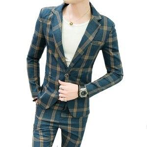 Image 2 - Heren Blazers Formele Plaid Vintage Suits Met Broek 2 Delige Set Britse Mannelijke Smoking Slim Fit Business Casual Bruiloft bruidegom
