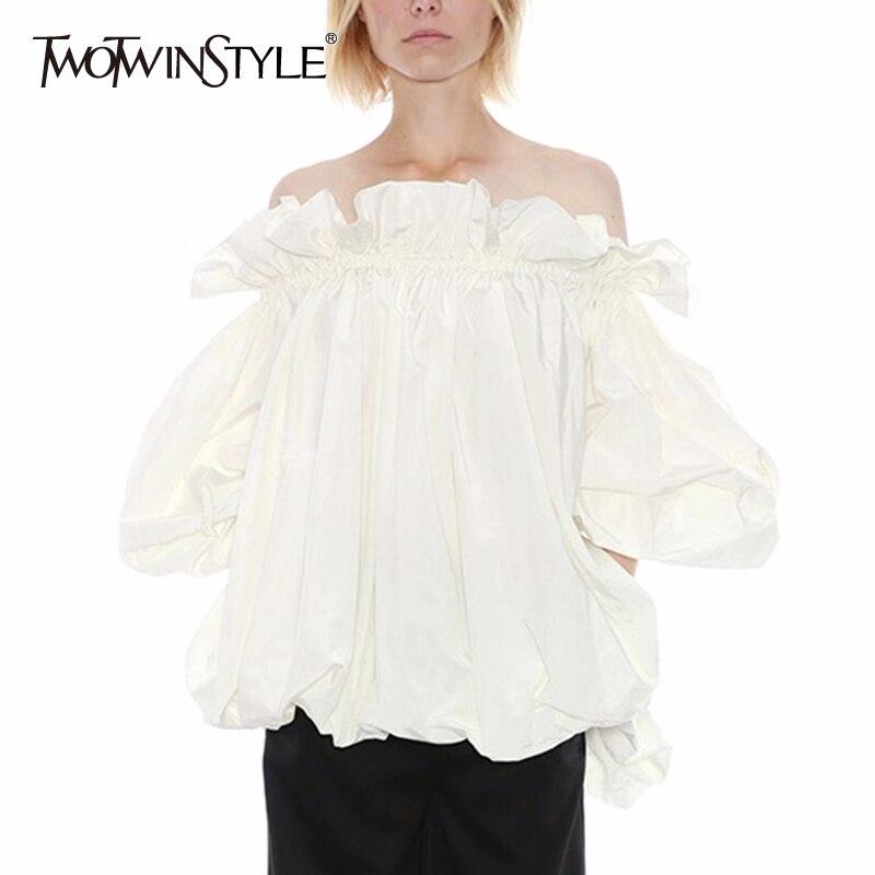 TWOTWINSTYLE Elegant Patchwork Ruffles Women Shirt Slash Neck Lantern Long Sleeve Loose Casual Blouse For Female Fashion Clothes