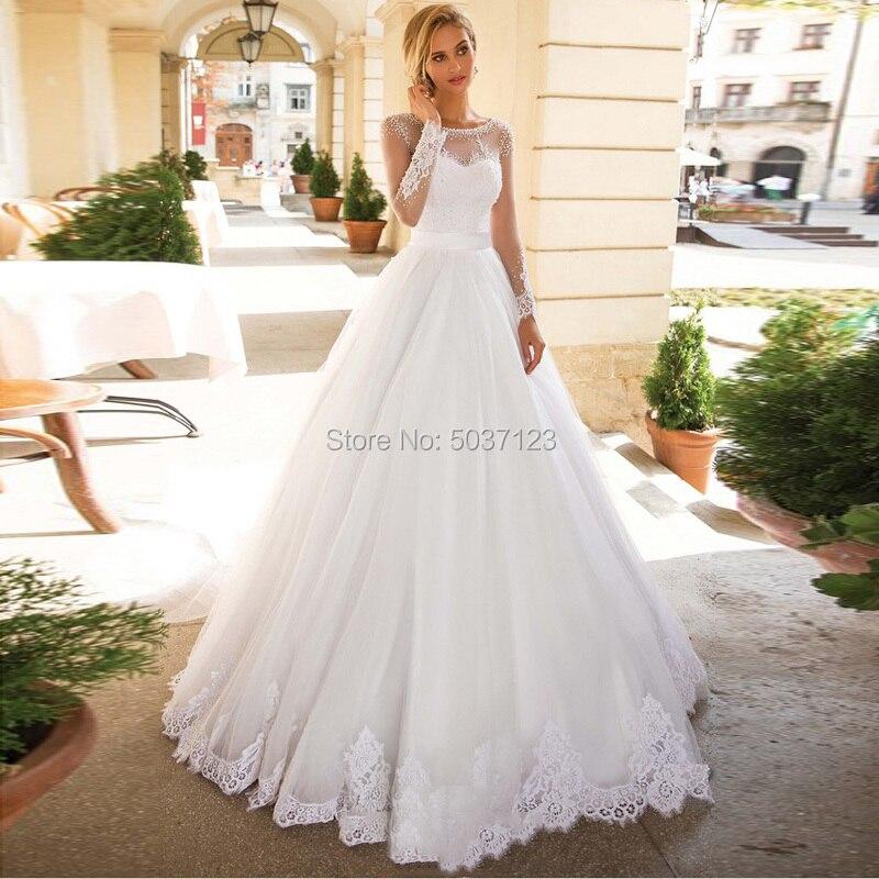 Vestido De Noiva A Line Tulle Wedding Dresses O Neck Beading Long Sleeves Lace Appliques Bridal Gowns Court Train Plus Size