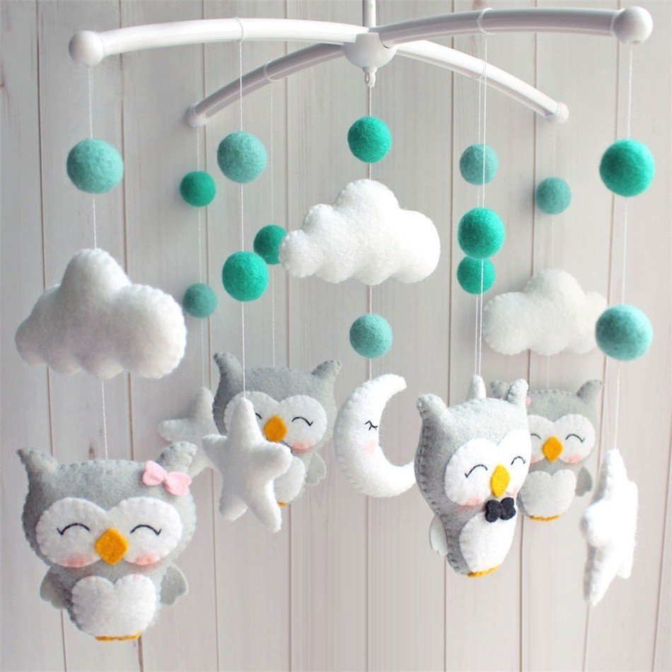 Baby Rattles Newborn Crib Bed Bell Pregnant Mom DIY Handmade Cartoon Animal Material Package Child Mobile Musical Rotating Toys