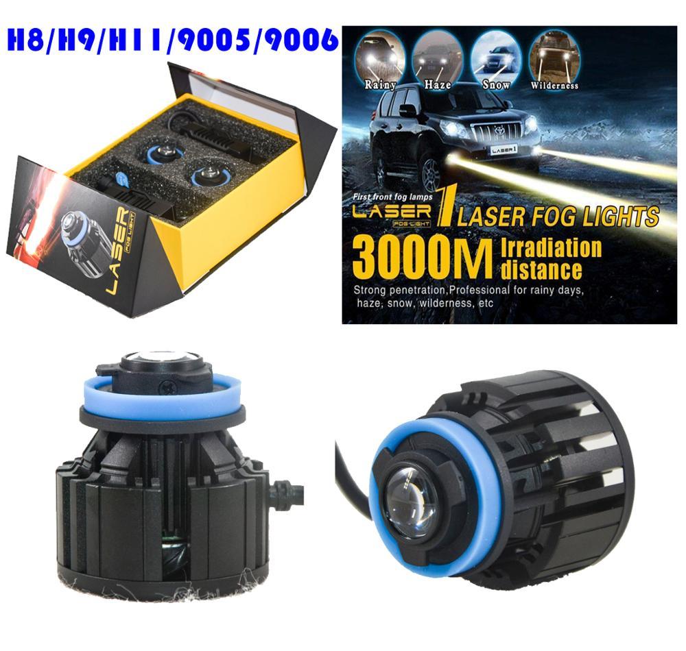 1 Set L1 LED Laser Fog Headlight Lights Bulbs H8 H9 H11 9005 9006 26W 2600LM 3000M Laser Meter Irradiation Distance Ultra Bright