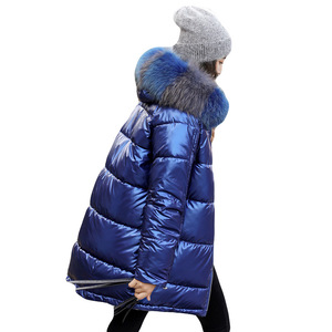 Image 5 - 2019 New Women Winter Down Jacket Chic Big Fur Warm Ultra Light Long Coat Female Parka Hooded Glossy Jackets Oversized