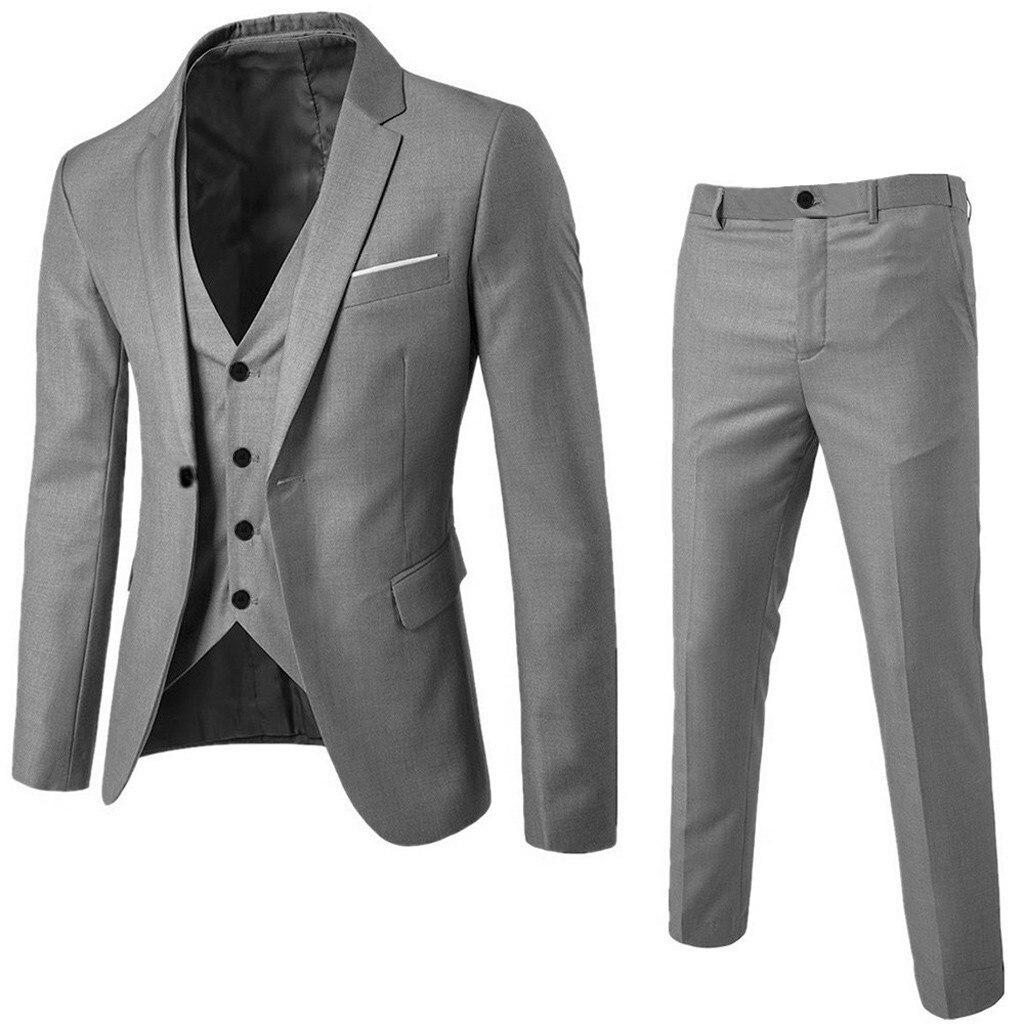 Traje de hombre delgado traje de 3 piezas Blazer negocio boda fiesta chaqueta chaleco y pantalones negocios boda fiesta traje conjunto