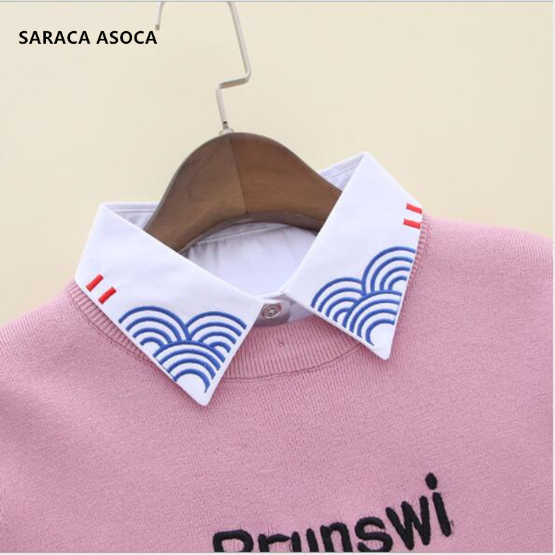 Fashion Embroidery Women White Shirt Fake Collar All-Macth Sweater Detachable Collars For Girls B165
