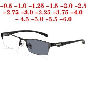 Image 2 - Soleil photochromique myopie lunettes hommes fini caméléon lentille Prescription lunettes demi métal cadre 0.5  0.75  1.0  2 à 6