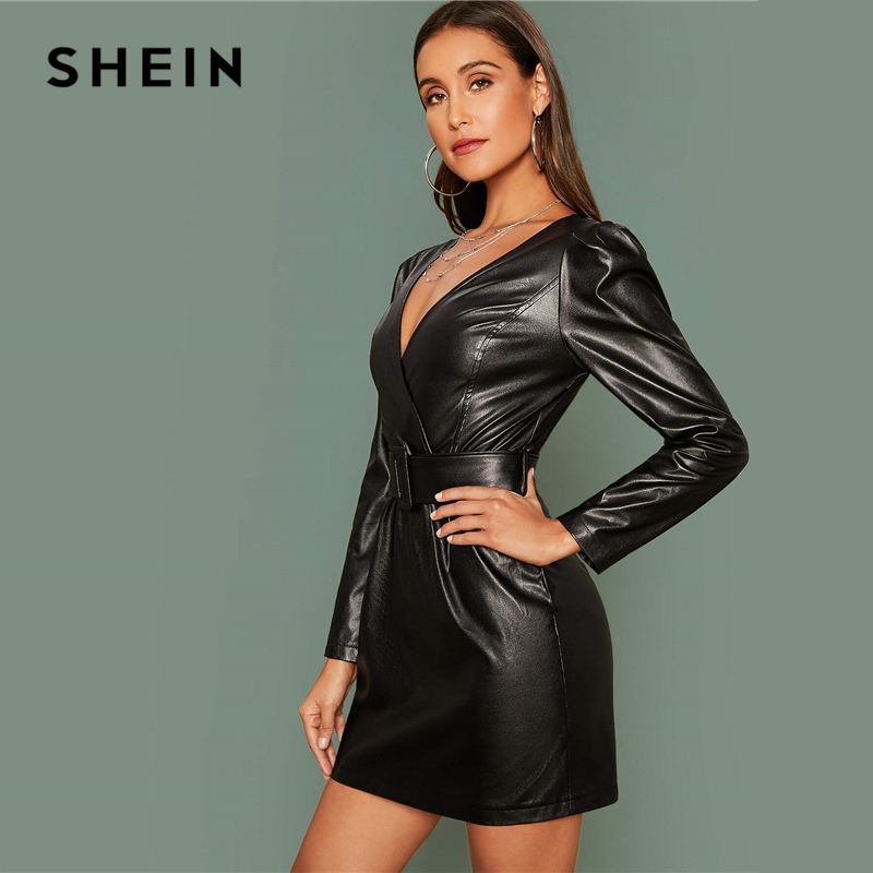 SHEIN Glamorous Black Surplice Wrap Belted PU Leather Dress Women Fall Winter Long Sleeve High Waist Fitted Pencil Short Dresses 2