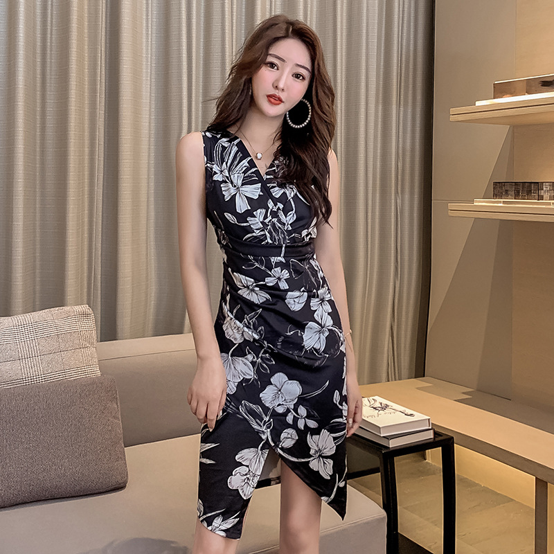 WOMEN'S Dress 2019 New Style Debutante-Printed Sheath Sleeveless Dress Women's