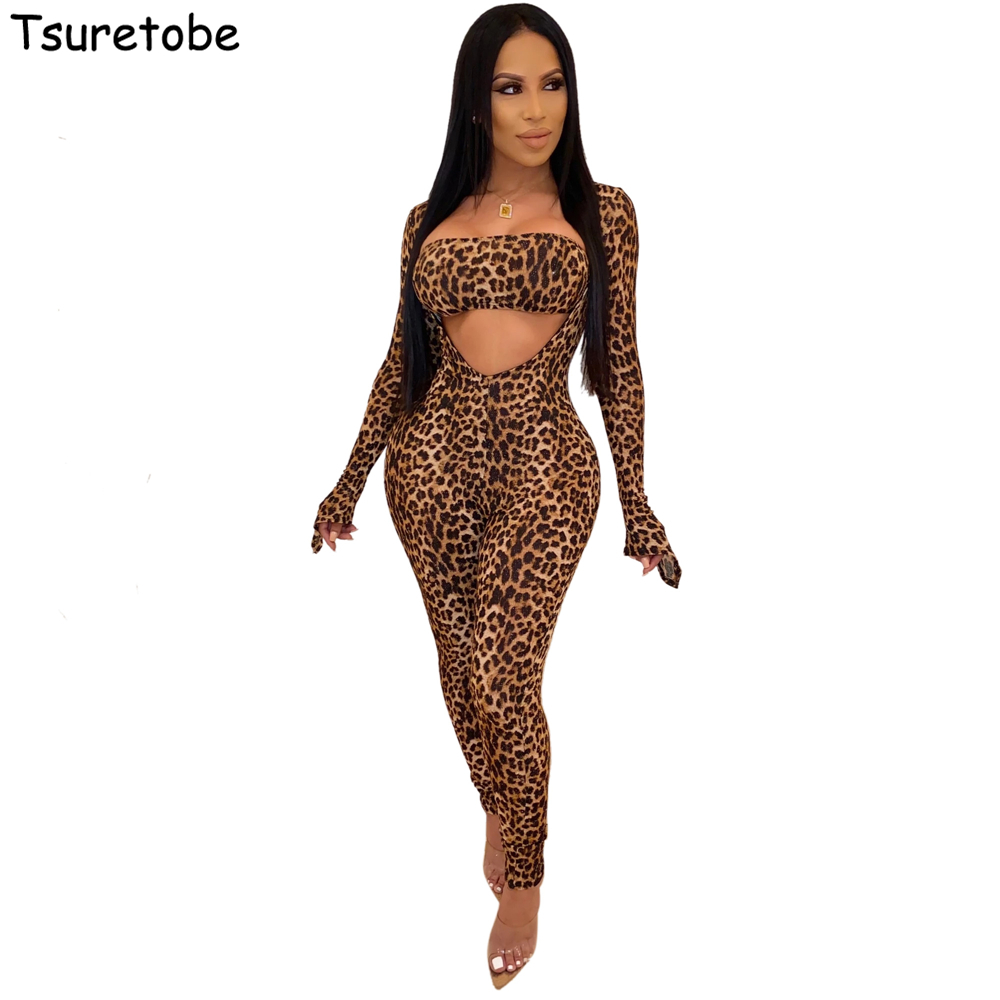 Tsuretobe Autumn Skinny Leopard Long Sleeve Jumpsuit And Strapless Crop Tops Women Two Piece Set Sexy Party Club Outfits Female