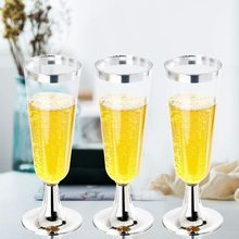 Disposable Silver Plastic Champagne Cups,Classicware Glass Like Champagne Wedding Parties Toasting Flutes Party Cocktail Cups