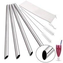 Açılı İpuçları kullanımlık Smoothie payet 12mm geniş 304 paslanmaz çelik Boba payet parti Bar içme Metal saman kabarcık çay