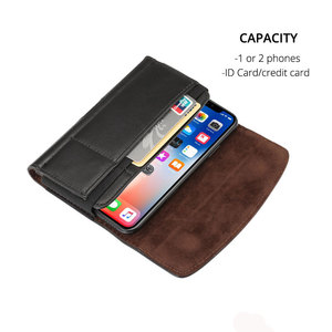 Image 2 - Belt Clip Holster Leather Case for iPhone 11 11pro max for Samsung Note10+ S10+ Huawei mate 20 20pro Xiaomi Max with Card Holder