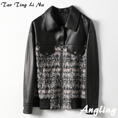 2020 Women Spring Genuine Real Sheep Leather Jacket H17